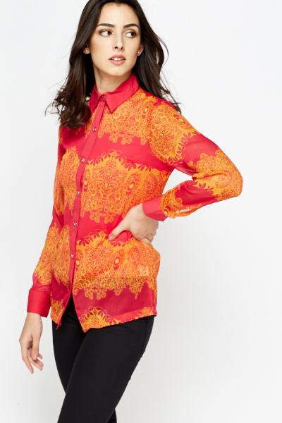 2 In 1 Printed Pink Blouse