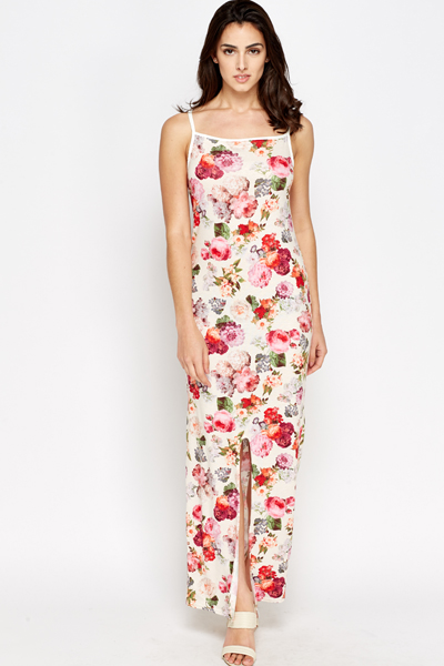 Cream Blossom Maxi Dress
