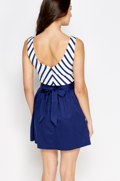 Dark Blue Mono Striped Skater Dress