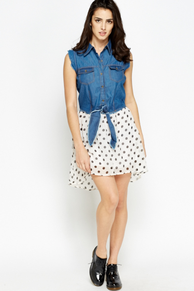Denim Top Contrast Dress