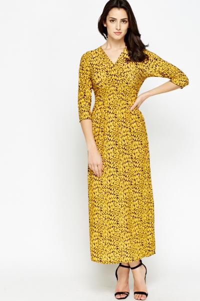 Long Sleeve Printed Maxi Dress - Just £5