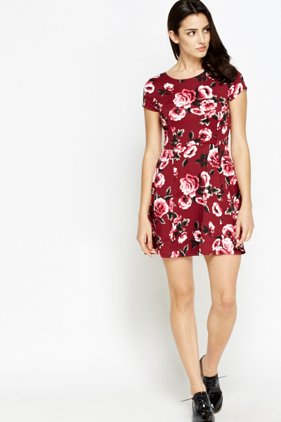 Wine Floral Mini Skater Dress - Just £5 42d7b26d8