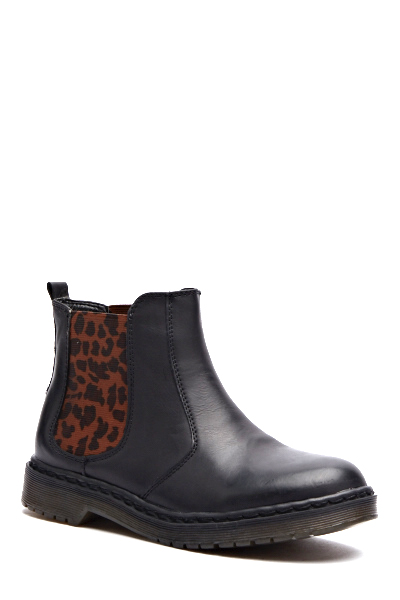 Leopard Print Contrast Ankle Boots