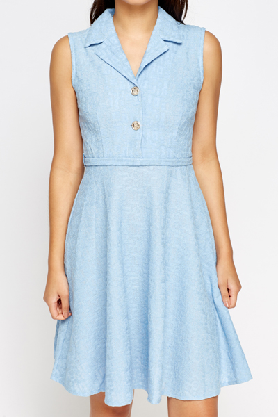 Collared Lace Printed Skater Dress