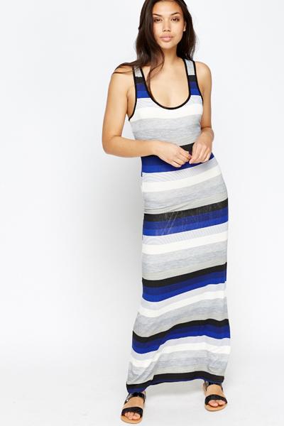 30624f5c187 Royal Blue Striped Maxi Dress - Just £5