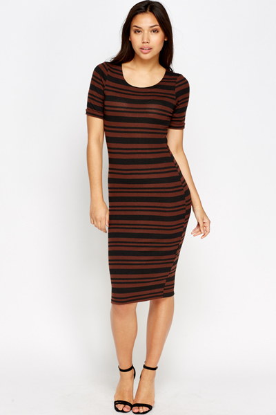 7be40d924d82 Short Sleeve Brown Bodycon Dress - Just £5