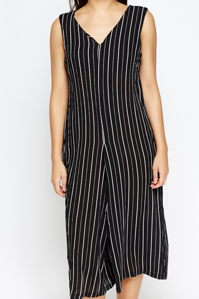Striped Cropped Jumpsuit