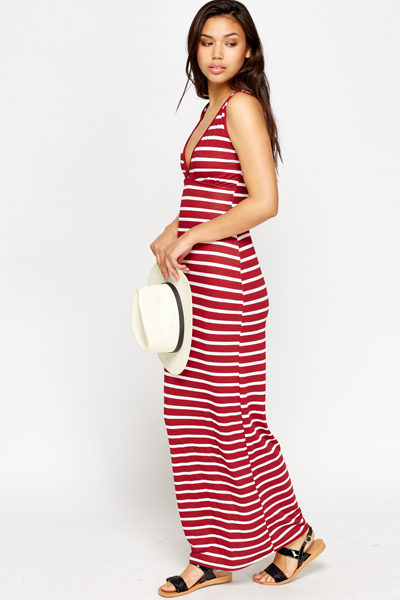 V-Neck Wine Striped Maxi Dress