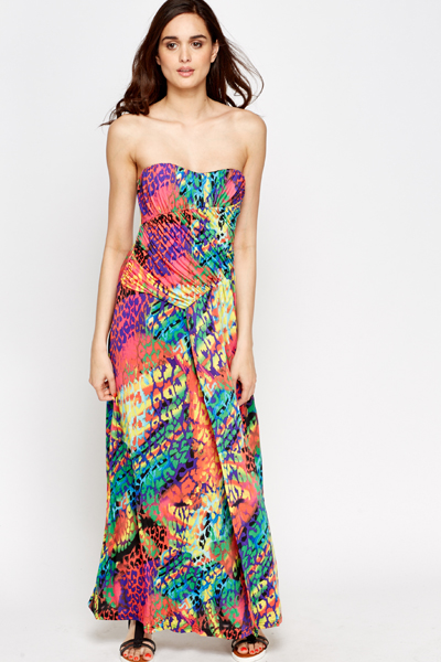 Multi Print Bandeau Dress