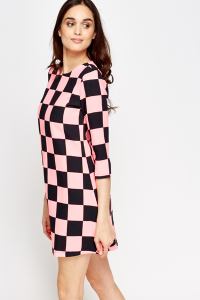 Racer Check Shift Dress