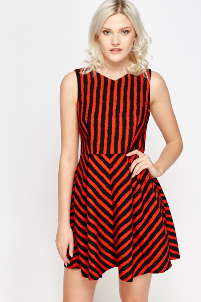 ecbd72e9c59 Two Tone Striped Skater Dress - Just £5