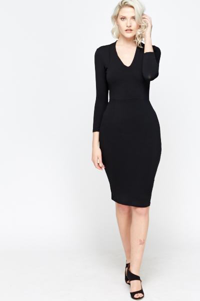 Black V Neck Bodycon Dress Just 5