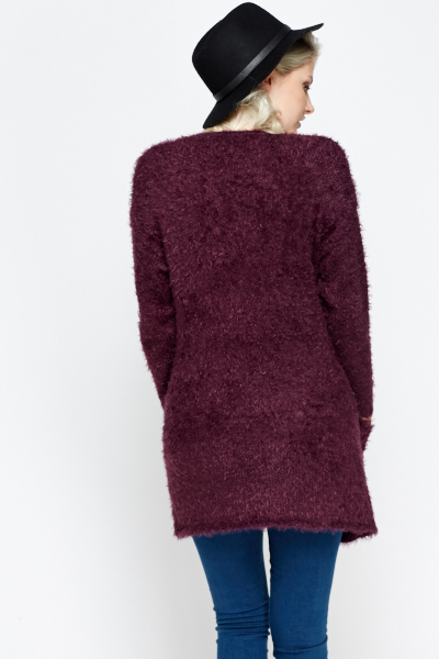 Fluffy Pocket Side Cardigan