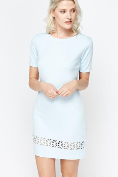 20e6cfa24135 Laser Cut Out Sky Blue Shift Dress - Just £5
