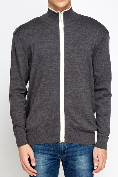 Contrast Trim Zip Up Front Jumper