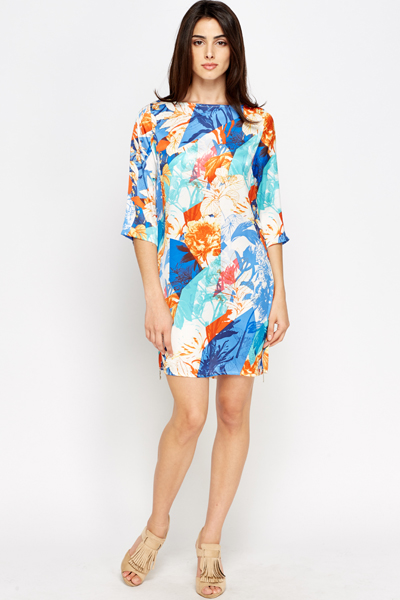 Geo Printed Floral Shift Dress