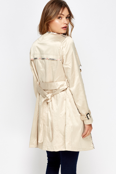 Checked Trim Trench Coat