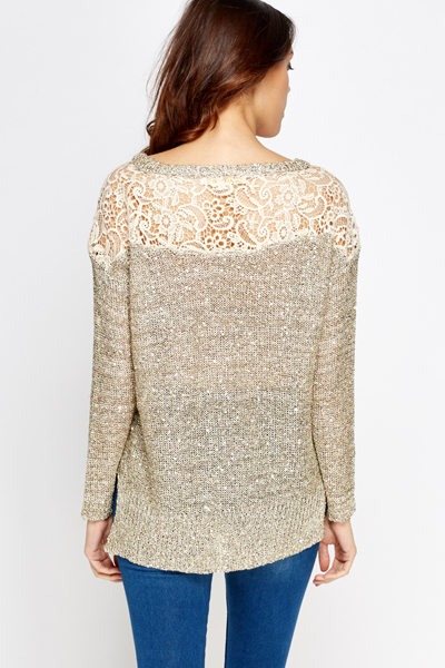 Crocket Back Sequinned Jumper