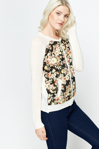 Floral Panel Metallic Cardigan