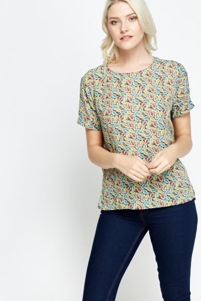 Paisley Dip Hem Cut Out Back Top