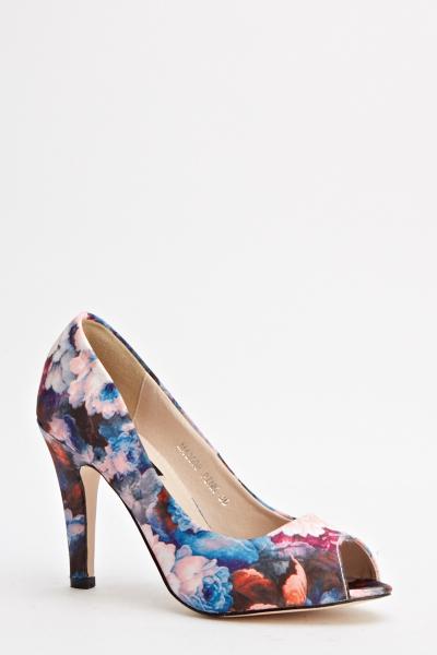 Floral Peep Toe Mid Heels - Just $6