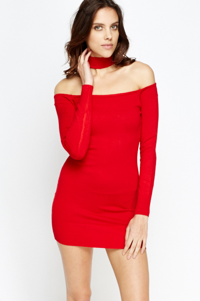 Choker Neck Bodycon Jumper Mini Dress Just 163 5