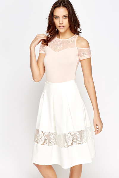 Cold Shoulder Lace Contrast Bodysuit