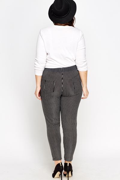 Black Striped High Waisted Trousers