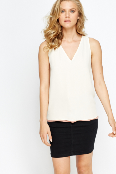 Layered V-Neck Chiffon Reversable Top