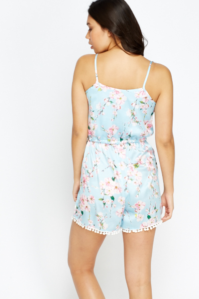 Floral Pom Pom Trim Playsuit