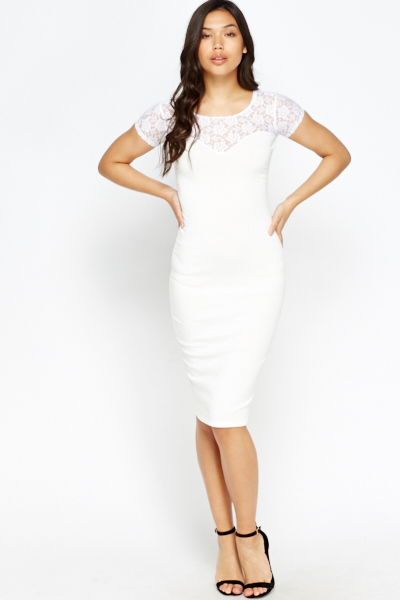 Lace Insert Sweetheart Bodycon Dress