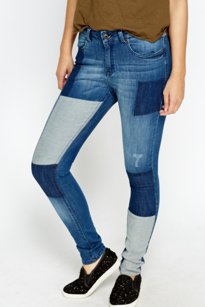 Patchwork Slim Fit Jeans