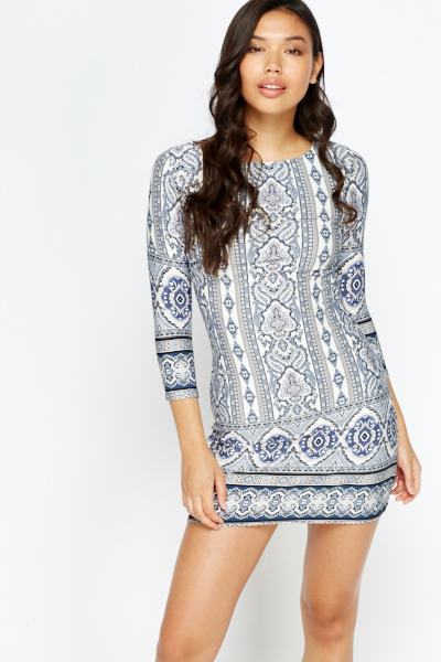 Image of Tapestry Print Bodycon Dress