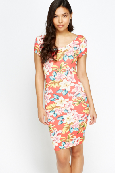 Tropical Jersey Bodycon Dress