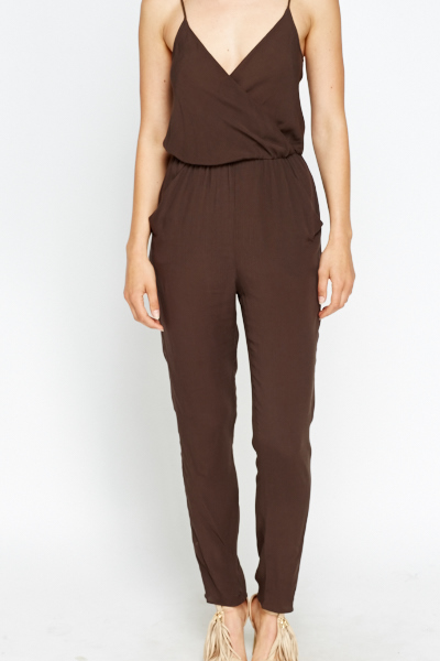 Brown Low Plunge Jumpsuit