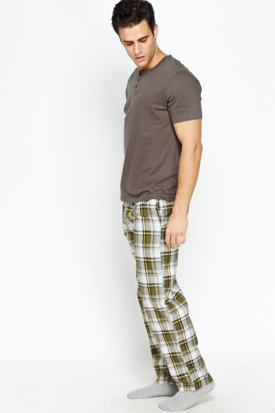 Check Grid Print Elastic Lounge Pants