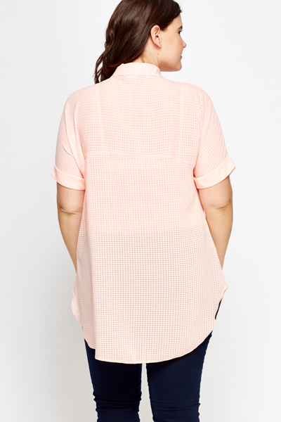 Checkgrid Sheer Shirt Blouse