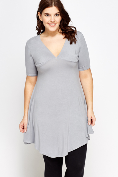Deep V-Neck Swing Tunic
