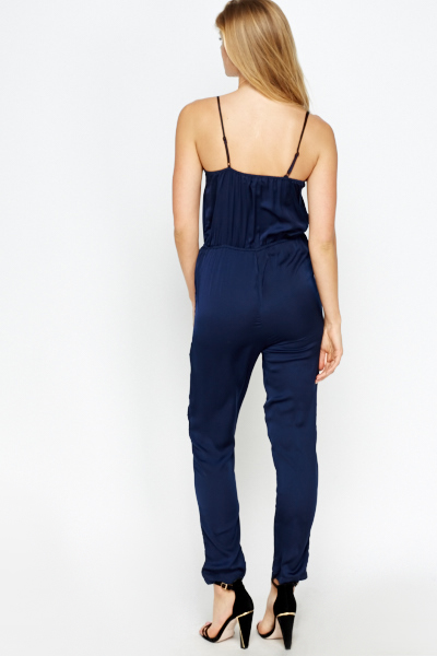 Lace Insert Silk Feel Jumpsuit