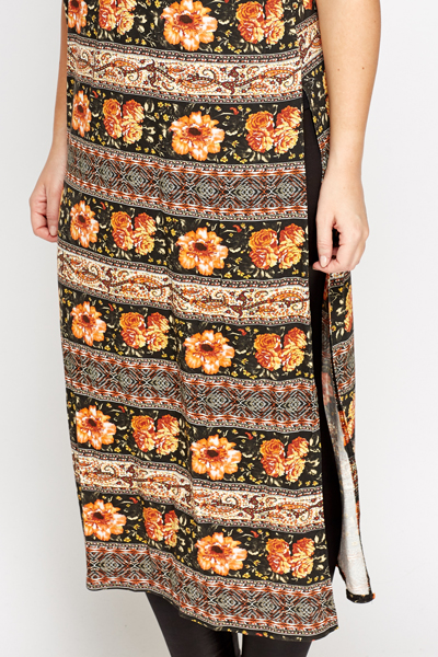Ornate Mixed Print Side Slit Top