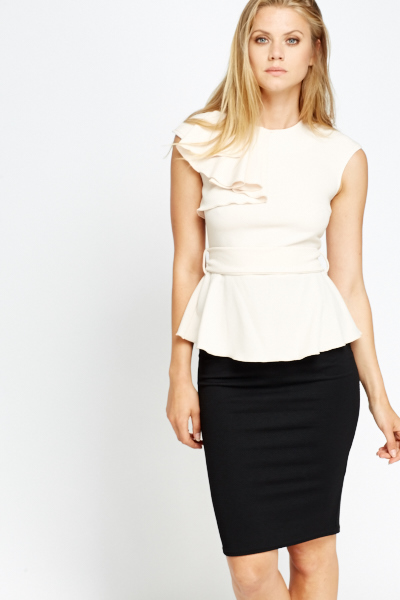 Ruffled Shoulder Peplum Top