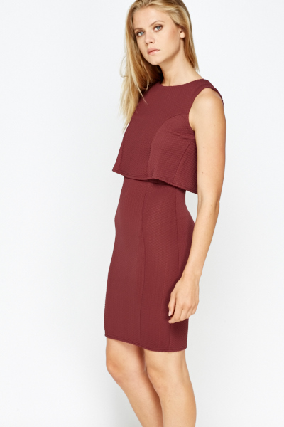 Textured Overlay Shift Dress