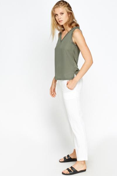 1ea66c9209 White Linen Blend Trousers - Just £5