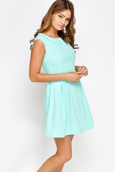 Mint Pleated Swing Dress