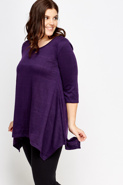 Purple Asymmetric Cut Back Top