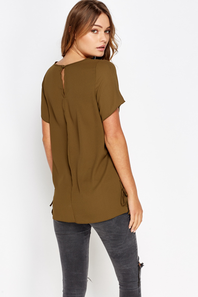 Sheer Lace Up Side Top