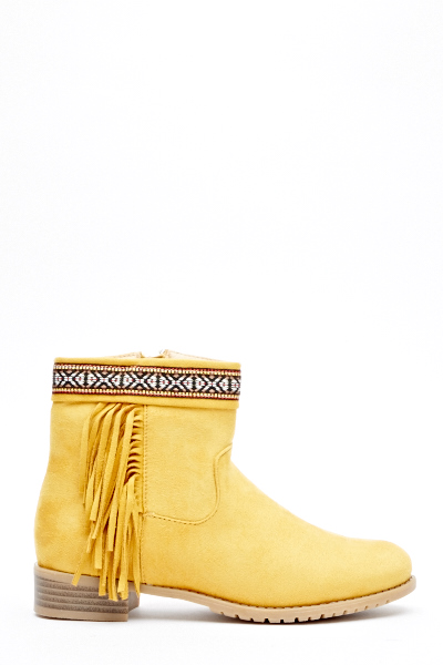 Aztec Trim Low Heel Boots