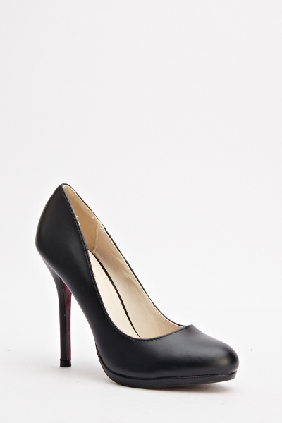 Black Faux Leather High Heels