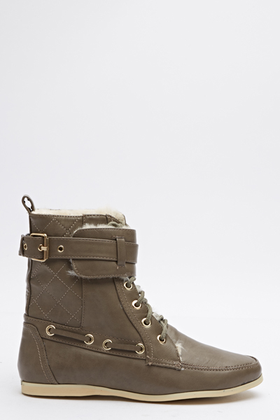 Quilted Side Lace Up Boots