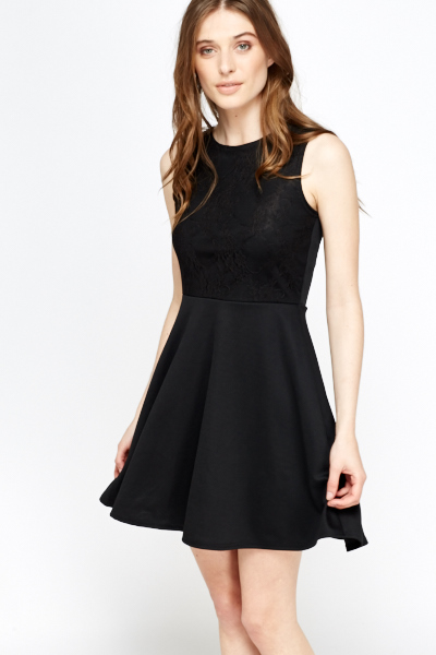 Black Lace Front Skater Dress